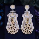 GODK 70mm Luxury Knight Symbol Full Mirco Cubic Zirconium Naija <b>Wedding</b> Women Earring Fashion <b>Jewelry</b>