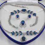 Prett Lovely Women's Wedding Inlay Blue crystal Necklace Bracelet Ring Earring set> Bridal wide