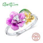 SANTUZZA <b>Silver</b> Ring For Women 925 <b>Sterling</b> <b>Silver</b> Fashion Rings for Women 2017 Cubic Zirconia Ringen Party <b>Jewelry</b> Enamel
