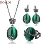KCALOE Big Natural Stone Green Opal <b>Jewelry</b> Sets Antique Black Crystal Rhinestone Leaf Pendant &Necklace Earrings Ring Set
