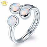 HUTANG Natural Opal Solid 925 Sterling <b>Silver</b> Engagement Open Ring Gemstone Fine <b>Jewelry</b> Women's Gift New Arrival