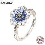 LARGERLOF Real 925 Sterling Silver Rings Women Fine <b>Jewelry</b> <b>Handmade</b> Flower Rings For Women RG47083