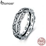 BAMOER Authentic 925 Sterling Silver Luminous CZ Intertwine Cocktail Finger Ring for Women Engagement Wedding <b>Jewelry</b> SCR335