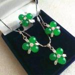 Women's Wedding Fashion 2Green GEM stone Beads Flower Earrings Ring(#6 7.8.9)Pendant <b>Jewelry</b> Sets silver-<b>jewelry</b>