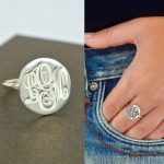 Engraved Monogram Ring 925 Sterling Silver Engraved Name Disc Initial Ring Personalized <b>Jewelry</b> Christmas Gifts