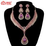 India style Crystal <b>jewelry</b> sets Bridal wedding Party necklace earrings Rhinestone pink color delicate <b>jewelry</b> for Women gift