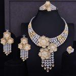 GODKI Super Luxury Tassel Drop Rose Flower Boom Full Micro Cubic Zirconia Women Wedding Dress <b>Necklace</b> Earring <b>Jewelry</b> Set