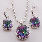 New Rainbow Crystal Zircon Woman 925 <b>Sterling</b> <b>Silver</b> Crystal Pendant Earrings TT443