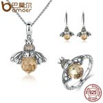 BAMOER 100% 925 Sterling Silver <b>Jewelry</b> Set Lovely Orange Bee Animal <b>Jewelry</b> Sets Wedding Anniversary Bridal <b>Jewelry</b> Sets ZHS043