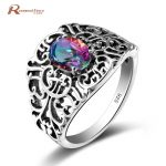 <b>Handmade</b> Rainbow Fire Mystical Topaz Crystal Rings Real 925 Sterling Silver Vintage Hollow Out Charm Cocktail Ring Women <b>Jewelry</b>