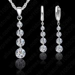 Giemi Women Wedding 925 Sterling <b>Silver</b> <b>Jewelry</b> Sets 4 Cubic Zircon Drop Design Necklace Earring Set Elegant Bijoux For Girls