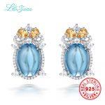 l&zuan 925 Sterling <b>Silver</b> Natural 12.27ct Topaz Blue Stone Stud <b>Earring</b> for bijoux gift Black Friday