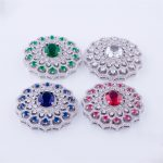 Micro Pave Brass Metal <b>Jewelry</b> Connectors Colorful Cubic Zirconia Round Necklace Charm For Women Necklace