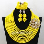 Yellow Nigerian Beads Set Marvelous Bridal <b>Jewelry</b> Sets <b>Handmade</b> Item Large Stock Wholesale ABW180