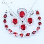 L&B Round Red Imitation Garnet White Zircon <b>Silver</b> Color 925 Logo Necklace/Pendant/ Ring/Earrings/<b>Bracelet</b> Jewelry Sets