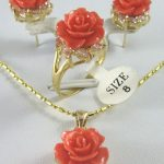 Women's Wedding 12MM Pink Coral Carved Flower Earrings Ring Pendant silver mujer moda