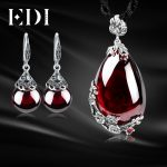 EDI Retro Flower Garnet Pendant Necklace Drop Earrings 100% 925 <b>Sterling</b> <b>Silver</b> For Women <b>Jewelry</b> Sets