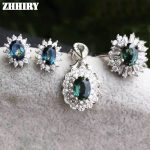Genuine sapphire jewelry set 100% natural gem stone sets genuine solid 925 sterling <b>silver</b> white gold plated woman royal
