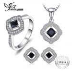 JewelryPalace Elegant 1.5ct Square Cut Genuine Spinel Halo Ring Pendant Necklace Stud Earrings <b>Jewelry</b> Sets 925 <b>Sterling</b> <b>Silver</b>
