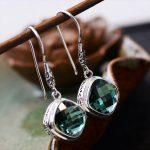 MetJakt Natural Chrome Diopside <b>Earrings</b> Solid 925 Sterling <b>Silver</b> Drop <b>Earrings</b> for Women's Vintage Ethnic Jewelry