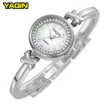 Brand YAQIN Women <b>Silver</b> Elegant <b>Bracelet</b> Watches Fashion Casual Clock Montre Femme Wrist Quartz Watch Relojes Mujer 2016