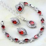 Eye Red Zircon White Australian Crystal 925 Sterling <b>Silver</b> Jewelry Sets For Women Wedding Earrings/Pendant/Necklace/<b>Bracelet</b>