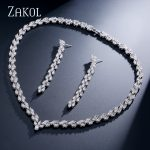 ZAKOL Classic Zirconia Leaf Roman Bridal Wedding <b>Jewelry</b> Sets for Elegant Women Marquise Cubic Zircon <b>Jewelry</b> FSSP158