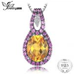 JewelryPalace Elegant 4.5ct Oval Orange Sapphire&Pink Created Sapphire Pendant <b>Necklace</b> 100% 925 Sterling <b>Silver</b> 45cm Box Chain