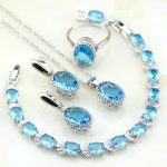 925 Silver <b>Jewelry</b> Sky Crown Blue Birthstone Charms <b>Jewelry</b> Sets For Women Engagement Earring/Pendant/<b>Necklace</b>/Bracelet/Ring