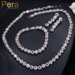 Pera Elegant Women 3 Piece Big Round Cubic Zirconia Multi Colored Choker <b>Necklace</b> Earrings And Bracelet For Prom Party Gift J229