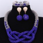 2018 Dubai <b>Silver</b> & Royal Blue African Beads Jewelry Sets Nigerian Wedding Necklace Jewelry Sets For Women Free Shipping Newest