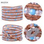 KELITCH Bracelets <b>Jewelry</b> White Crystal Beads Blue Bracelets Stone Beaded Leather 5 Wrap Bracelets <b>Handmade</b> Weave Charm Bracelet