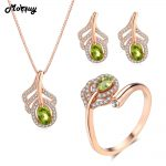 MoBuy Green Peridot Natural Gemstone 3pcs Jewelry Sets Romantic Feather Fine Jewelry 100% 925 Sterling <b>Silver</b> For Women V045ENR