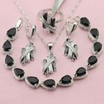 WPAITKYS Selling Black Cubic Zirconia 925 Sterling-<b>Silver</b>-Jewelry Sets For Women <b>Bracelet</b> Necklace Earrings Ring Free Gift Box