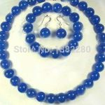 10mm Blue chalcedony round stone beads women fashion <b>jewelry</b> <b>making</b> design Necklace 18″ bracelet 8.5″ Earring set
