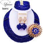 Laanc <b>Handmade</b> Royal Blue Crystal Beaded Necklace Nigerian Wedding African Beads <b>Jewelry</b> Set for Women 5DS012