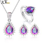 XF800 Genuine Gem Stone Crystal Topaz Necklace Pendant Rings <b>Earrings</b> Set 925 Sterling <b>Silver</b> Jewelry Gift For Women T239