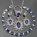 Costume <b>Silver</b> 925 Jewelry Sets Women Blue Zircon Christmas Earrings/Pendant/Rings With White Stones Set Jewelery Gift Box