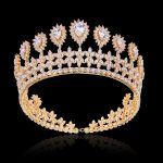 Marquise Zircon Flower Crown Tiara Sparkly Gold Color Coronet Headband AAA Cubic Zirconia Hair <b>Jewelry</b> for <b>Wedding</b> Headband Gift