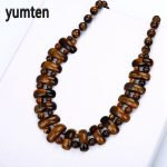 Yumten Tiger Eye Big Necklace Natural Stone Crystal Fashion Women Man <b>Handmade</b> Bead Chain Exquisite Retro <b>Jewelry</b> Kolye Bayan