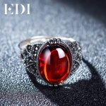 EDI Retro Vintage 925 Sterling <b>Silver</b> Garnet Chalcedony Jade Resizable Rings Finger Female Romantic <b>Jewelry</b> For Women