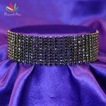Peacock Star Lady Bridal <b>Wedding</b> Party Prom 10 Row Black Rhinestone Choker Sexy Pageant <b>Jewelry</b> CC023