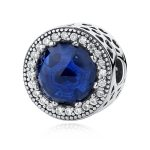 Authentic Sterling Silver 925 Radiant Hearts Blue CZ Glass Stopper Lock Clip Bead Fit Pandora Original Charms Bracelet <b>Jewelry</b>