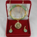 Women's Wedding noble 7.5′ light green gem bracelet, earings, and dragon inlay <b>jewelry</b> sets for part silver mujer moda