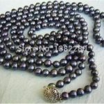 Hot sale 7-8mm Black pearl necklace 58inch women <b>jewelry</b> <b>making</b> design wholesale and retail >>> Free shipping