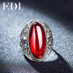 EDI Retro Vintage 925 Real Sterling <b>Silver</b> Ring With Female Red Garnet Blue Boule Corundum For Women Fashion Ring Finger <b>Jewelry</b>