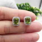 natural olivine <b>earrings</b> 925 <b>silver</b> Natural peridot gemstone <b>earring</b> women classic Elegant spuare <b>earrings</b> for party