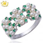 Hutang Genuine Emerald with Freshwater Pearls Solid <b>Sterling</b> <b>Silver</b> 925 Ring Women's Elegant Fine <b>Jewelry</b>