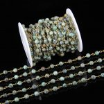 6mm <b>Fashion</b> Chains Wire Wrapped African Turquoises Beads,5meters Frosted Matted Round Beads Rosary Chains <b>Jewelry</b> Findings Bulk
