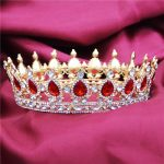 Luxury Gold Color Hair <b>Jewelry</b> Rhinestones Wedding Tiaras and Crowns Bridal Diadem Pageant Queen Tiara For hair accessories